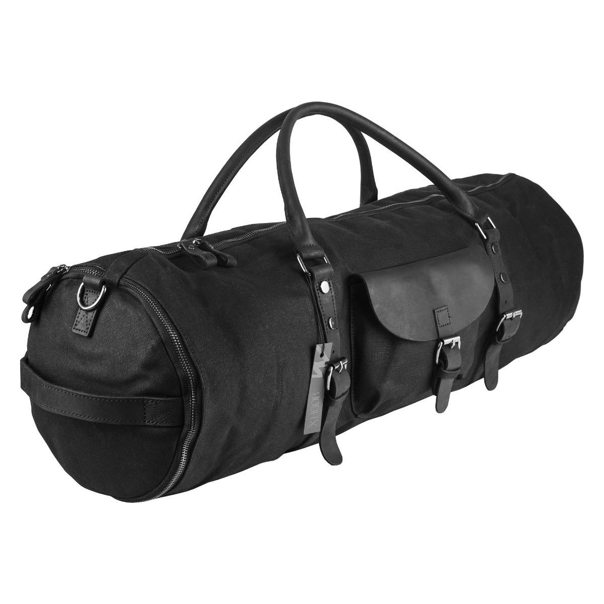 Hoob Long Bag Black | 80 cm canvas & leather bag