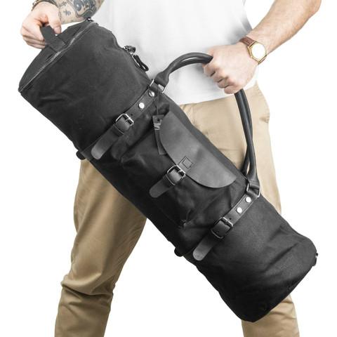 Hoob Long Bag Black | Удлинённая сумка 80 см из кожи и канваса